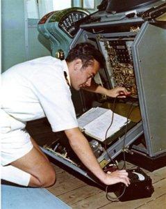 RMS Windsor Castle 1973 repairing radar.JPG