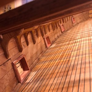 Mayflower Dartmouth Gun Deck, gun ports, knees, ceiling planking.jpg