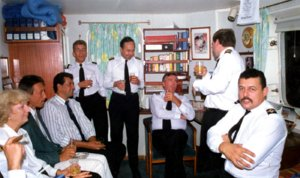 Captain Wyatt & officers relaxing at St Helena prior to final departure next day (Large).JPG