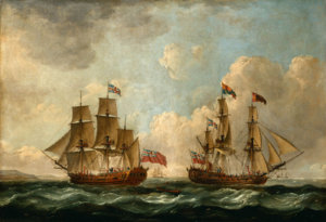The_Peregrine_(later_renamed_the_Royal_Caroline)_in_Two_Positions_off_the_Coast)_by_John_Cleve...jpg