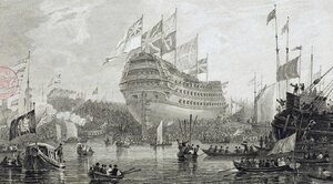 Launch_of_The_Nelson,_Woolwich_Dockyard,_L_Clennell_1814_LMA.jpg