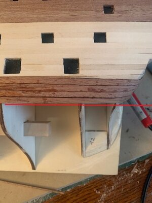 Planking starboard aft resolving the first bend Pic 2.jpg