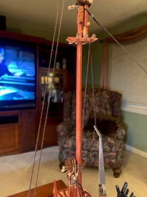 Rigging - using twezzers to weight line while tying the deadeyes.jpg