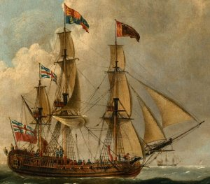 The Peregrine (later renamed The Royal Caroline) in Two Positions off the Coast, John Cleveley...jpg