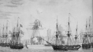 Regulus_stranded_in_the_mud_in_front_of_Fouras_under_attack_by_British_ships_August_1809.jpg