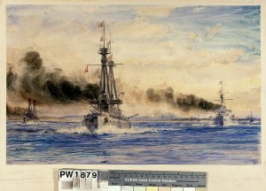1024px-'Invincible_and_Inflexible_steaming_out_of_Port_Stanley_in_Chase'-_the_start_of_the_Bat...jpg