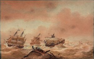 Nicholas_Pocock,_The_Day_after_Trafalgar_–_The_'Victory'_Trying_to_Clear_the_Land_with_the_'Ro...jpg